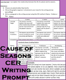 Cause of Seasons CER Writing Prompt
