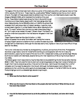 Causes & Effects of the Dust Bowl Reading & Questions Distance Learning