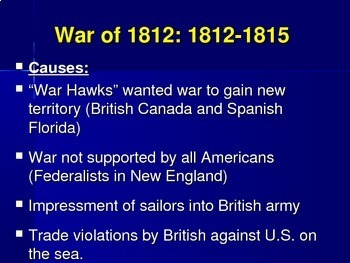Causes an effects powerpoint of wars in US History