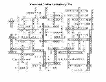 Causes and Conflict: Revolutionary War Crossword Puzzle