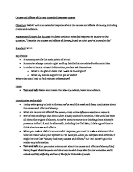 Causes and Effects of Slavery Extended Response Lesson