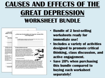 Causes and Effects of the Great Depression Bundle - US History Common Core