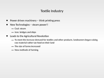 Causes and Effects of the Industrial Revolution