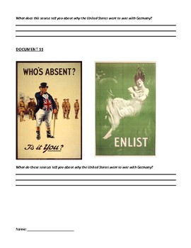 Causes for US Entry WWI Inquiry Common Core