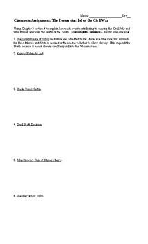 Causes of Civil War Worksheet