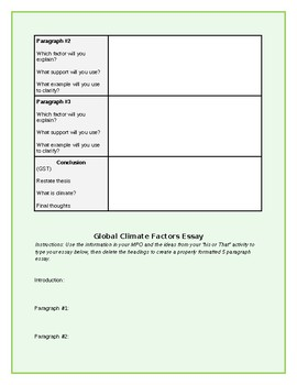 Causes of Climate Final Essay (scaffolded and unscaffolded versions included)