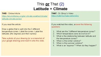 Causes of Climate - This or That Student Exploration Activities