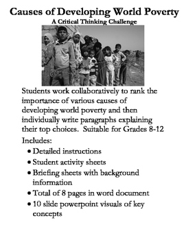 Causes of Developing World Poverty Critical Thinking Activity