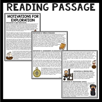 Causes of Exploration Reading Comprehension Worksheet; Age of Exploration