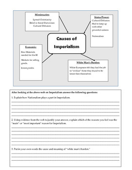 Causes of Imperialism Web and Questions