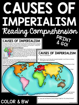 Causes of Imperialism article, questions, Africa