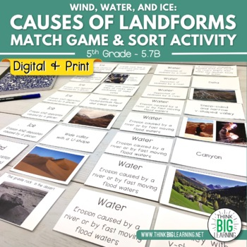 Causes of Landforms Match Game & Sort Activity (STAAR Review Aligned)