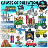 Causes of Pollution Clip Art Set - EARTH DAY {Educlips Clipart}