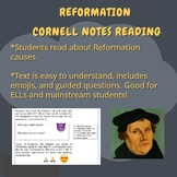 Reformation Causes Cornell Notes Reading