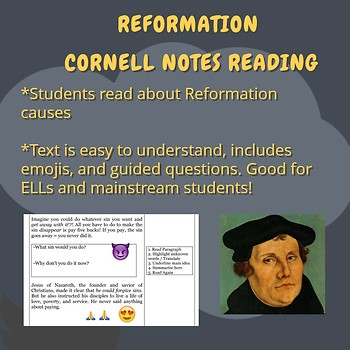 Causes of Reformation and Martin Luther Close Reading and