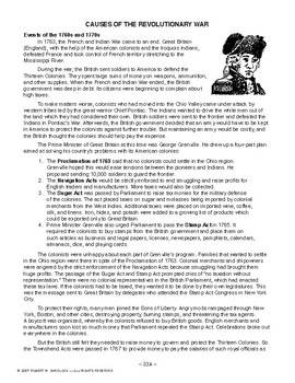 Causes of Revolutionary War AMERICAN HISTORY LESSON 33 of 150 Fun Activites+Quiz