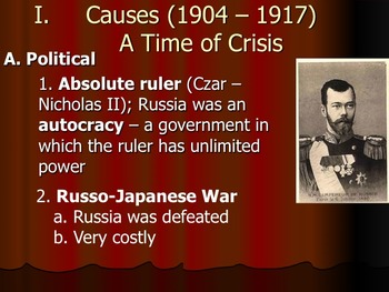 Causes of Russian Revolution - Powerpoint and Guided Notes