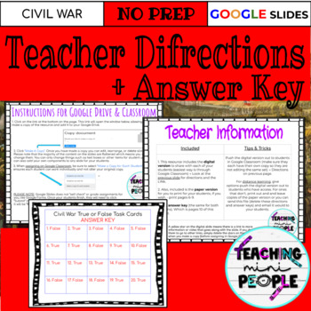 Causes of The Civil War Task Cards Open Ended - Distance Learning - Digital