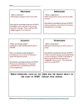 Causes of WWI Notes & Worksheet