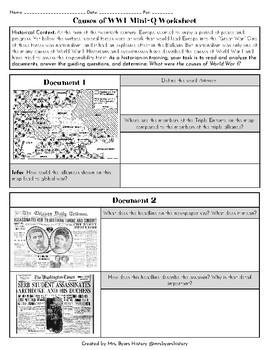 Causes of WWI Mini-Q Worksheet