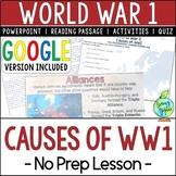 World War 1 Causes, World War I, WW1, WWI; Distance Learning