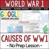 World War 1 Causes, World War I, WW1, WWI; Distance Learning