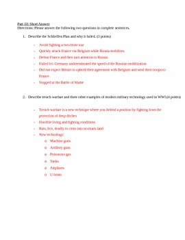 Causes of WWI - Short quiz
