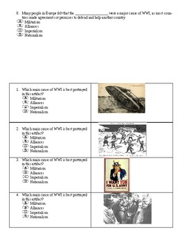 Causes of WWI Worksheet