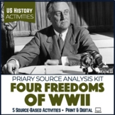 WWII Causes Stations & Roosevelt's Four Freedoms Print & Digital