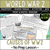 World War 2 Causes, World War II, WW2, WWII; Distance Learning