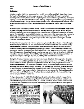 Causes of WWII Worksheet by 2nd Chance Works | Teachers Pay Teachers