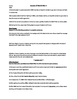 Causes of WWII Worksheet