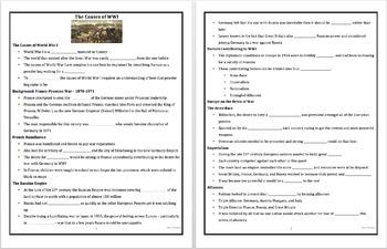 Causes of World War I Keynote