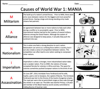 causes of world war 1 worksheet geersc. Black Bedroom Furniture Sets. Home Design Ideas