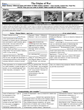 Causes of World War I - Power Point and Guided Notes: I.B Level