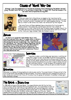 Causes of World War I Reading and Handout