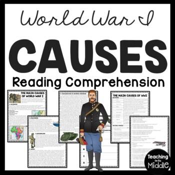 World War I- Causes Reading Comprehension Worksheet European, U.S. History