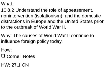 Causes of World War II - 27.1 Powerpoint - World War II