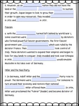 Causes of World War II Internet Scavenger Hunt WebQuest ...