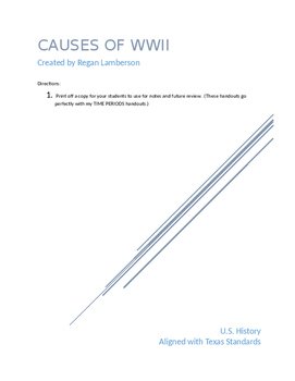 Causes of World War II WWII US History STAAR EOC Prep