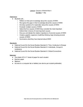 Causes of World War II (WWII) Lesson Plan