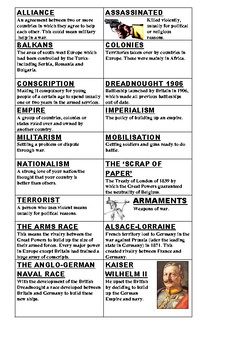 Causes of World War One Cards