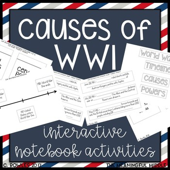 Causes of World War One Interactive Notebook Activities (WWI)
