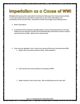 World War One Causes - Research Project (WWI) - Project, Key, Rubrics, Etc.