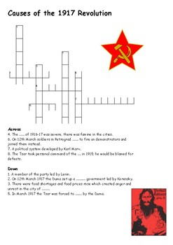 Causes of the 1917 Revolution Crossword