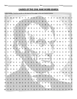 Causes of the American Civil War Word Search
