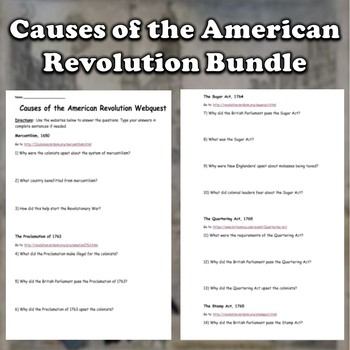 Causes of the American Revolution Bundle