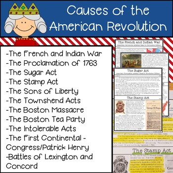 Causes of the American Revolution Articles and Activities Distance Learning