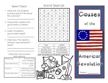 causes of the american revolution worksheet pdf
