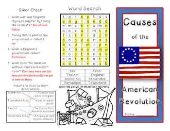 Causes of the American Revolution Brochure